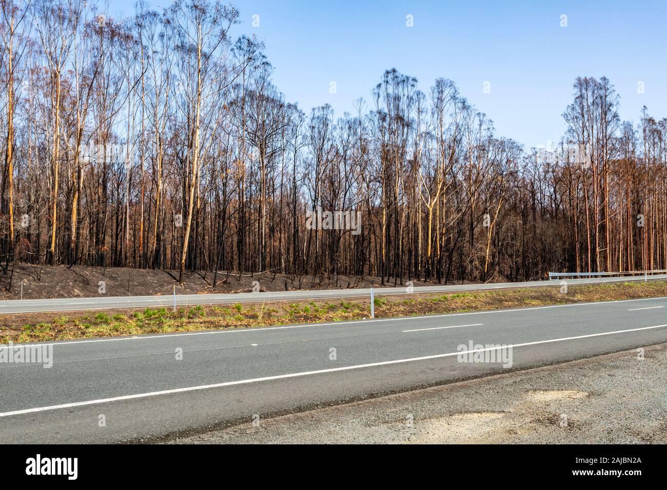Miles de hectáreas quemadas a lo largo de Nueva Gales del Sur (NSW) durante la temporada 2019/20 a las quemas en Australia Foto de stock