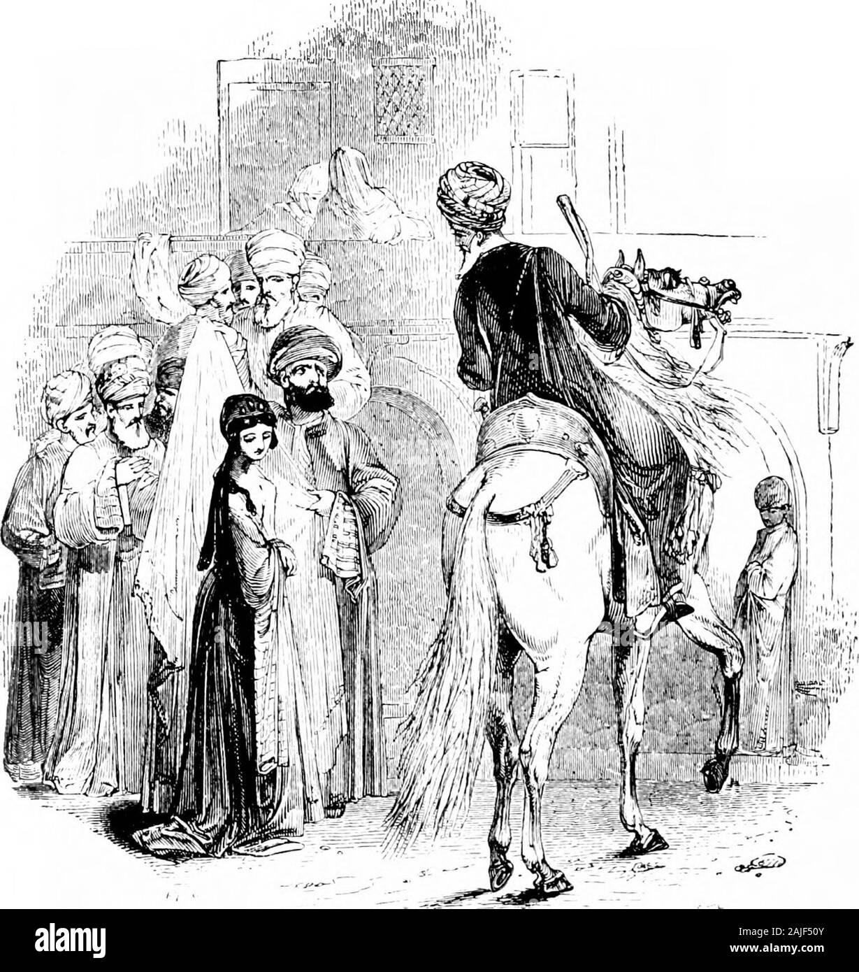 Las mil y una noches (volumen 1): comúnmente llamado, en Inglaterra, el Arabian nights' entretenimientos . -Swered, con cuatro mil y quinientos piezas de oro.14 Pero he aquí, el hijo de El-Moeen Wezeer Sawee estaba en el mercado,y, viendo Alee Noor-ed-Deen ahí de pie, dijo dentro de él a sí mismo, lo que hace que quieras aquí, que no tiene nada de izquierda a wherewith pur-Chase esclavas ? A continuación, echando sus ojos alrededor y audiencia thebroker cuando estaba llorando en el mercado con los comerciantes aroundhim, dijo dentro de sí, no puedo imaginar nada más que el hath thathe convertido en quiebra, y com Foto de stock