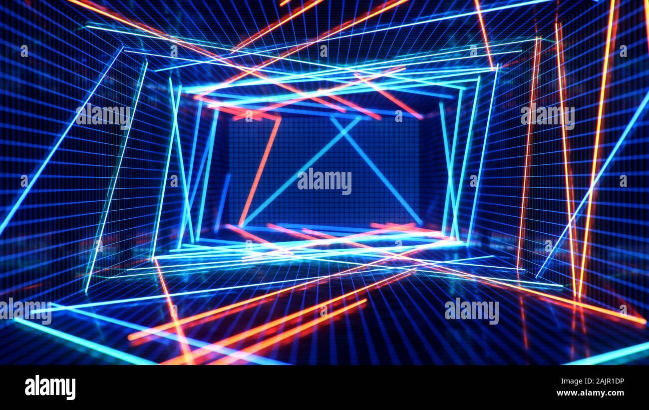 Interior abstracto azul y rojo con luz de neón. Lámpara fluorescente. Arquitectura futurista de fondo. ilustración 3d de las lámparas de neón que se iluminan Foto de stock