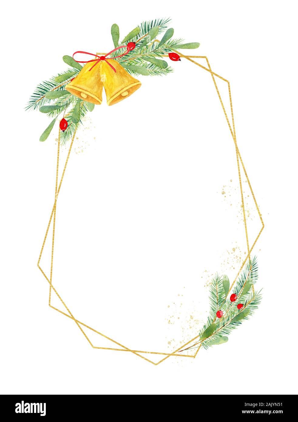 Christmas Frame geométrica dibujada a mano ilustración acuarela. Frontera multangular festiva con elementos de decoración botánica. X-mas composición con il Foto de stock