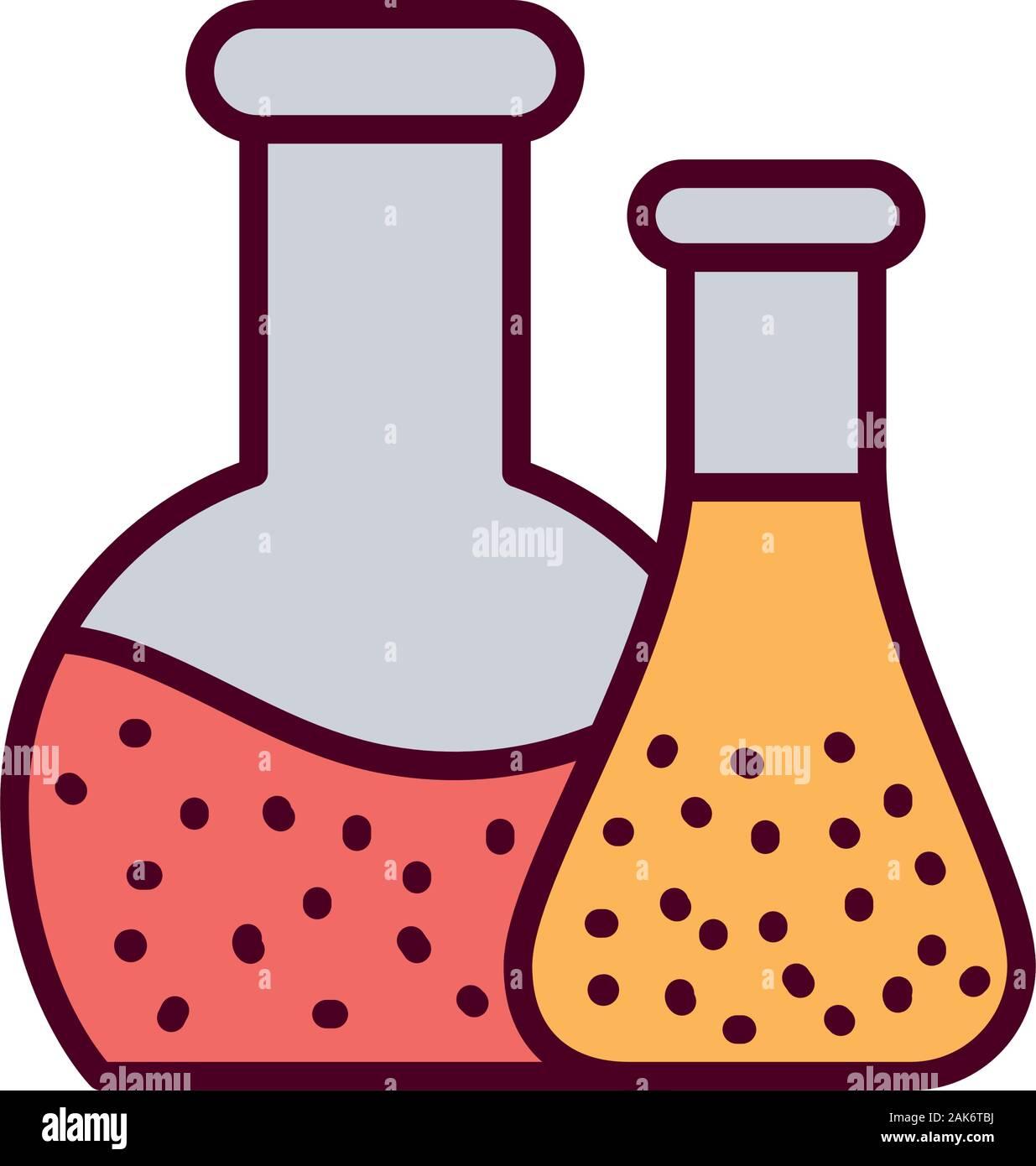 Matraces de química aislado de diseño vectorial Ilustración del Vector