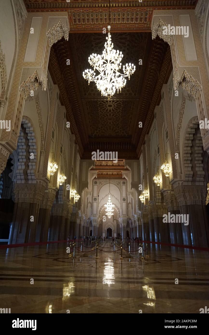 Casablanca Marruecos Africa interior mezquita Hassan II. Foto de stock