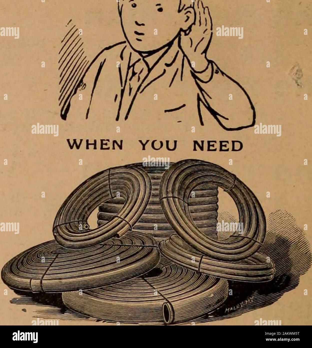 """Entre enero y junio de 1897 merchandising de hardware . Inc. 1895 Black Diamond Works Archivo G. y H. Barnett Empresa PHILADELPHIA 12 -c^ S>""""- ^**. Medallas concedidas por los jurados * Exposiciones Internacionales especial premio medalla de oro en Atlanta, 1895 """""""" &. &Gt*; queremos oír. -. I* la manguera de goma. Nuestras marcas la cruz maltesa. Calidad Extra, (negro o blanco). Kinkproof, (cable obligado)León, King, líder, competencia, Faiiy, (algodón). La Cutta Pergha y Goma DE TORONTO Mfg. Co., Ltd. 61-63 FRONT ST. WEST, Toronto. Foto de stock"""