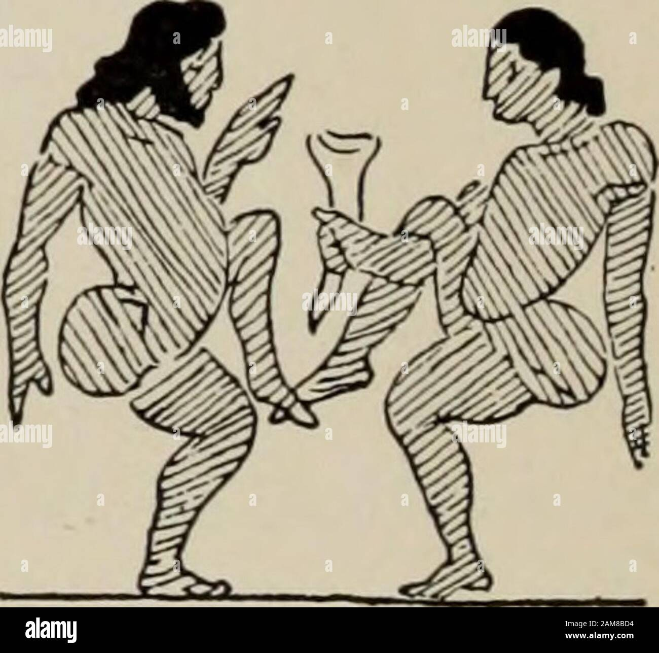 La danza griega antigua, después de figuras esculpidas y pintadas . prensa el movimiento bymore medios directos. Entre los dos momentos de la Fig. 404 mustbe interpuso el momento de la suspensión duringque el bailarín salta de la pierna derecha a la izquierda. 301. Fig. 405, en el que se muestra la elevación y baja, progresivamente, de las piernas de los bailarines, es un remarkableejemplo de una serie analítica completa (291). La rodilla de la pierna suportante está doblada y es evidente que el bailarín está saltando de la pierna izquierda a la derecha: Levanta la pierna superior izquierda así como la pierna superior derecha. Ejecuta, en su lugar, un se Foto de stock