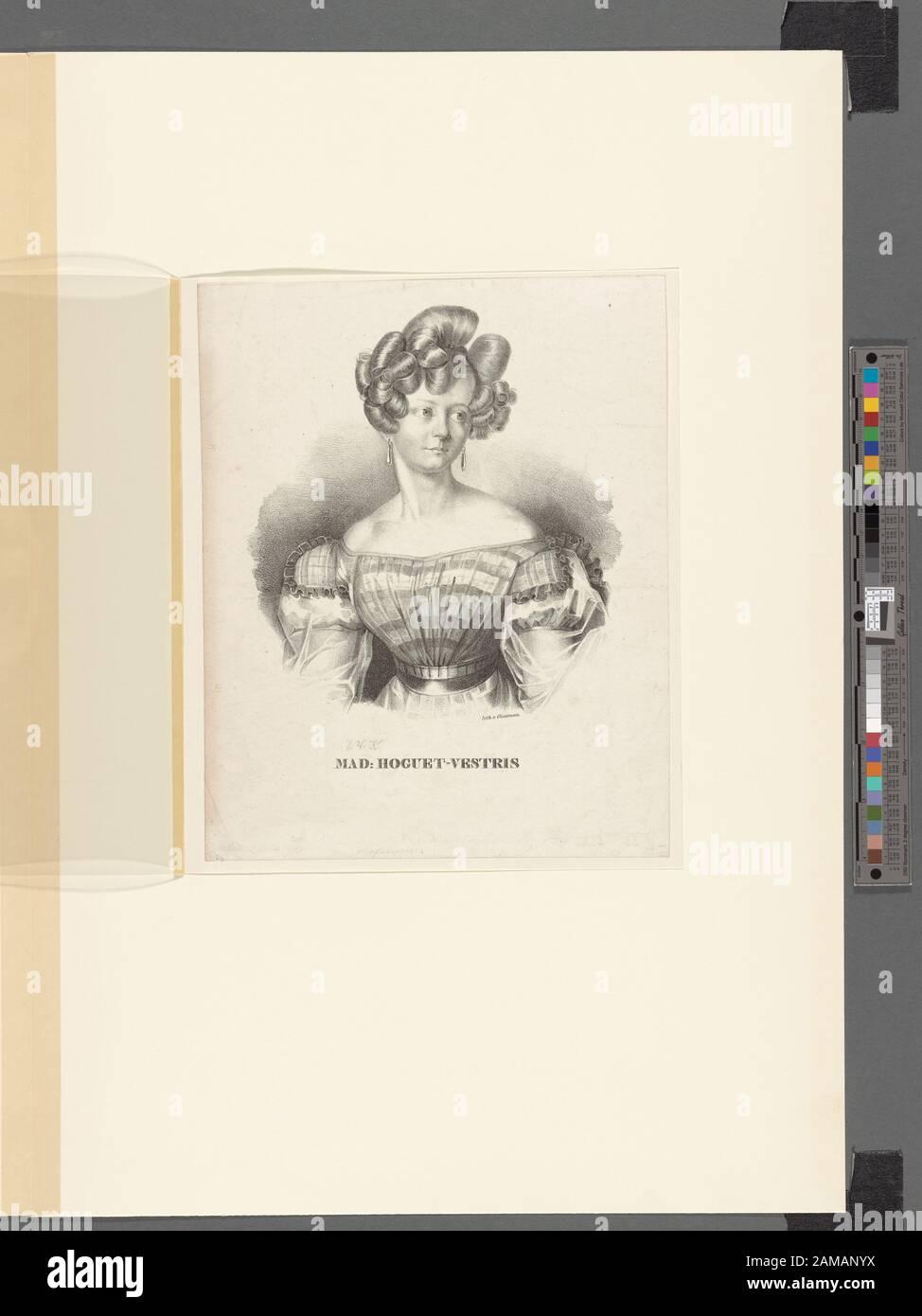 Retrato Imagen Inferior: Mad: Hoguet-Vestris. Retrato de media longitud del bailarín, ojos a la derecha. Su cabello está arreglado en rizos elaborados; ella está usando un vestido de cuadros.; Retrato. Foto de stock
