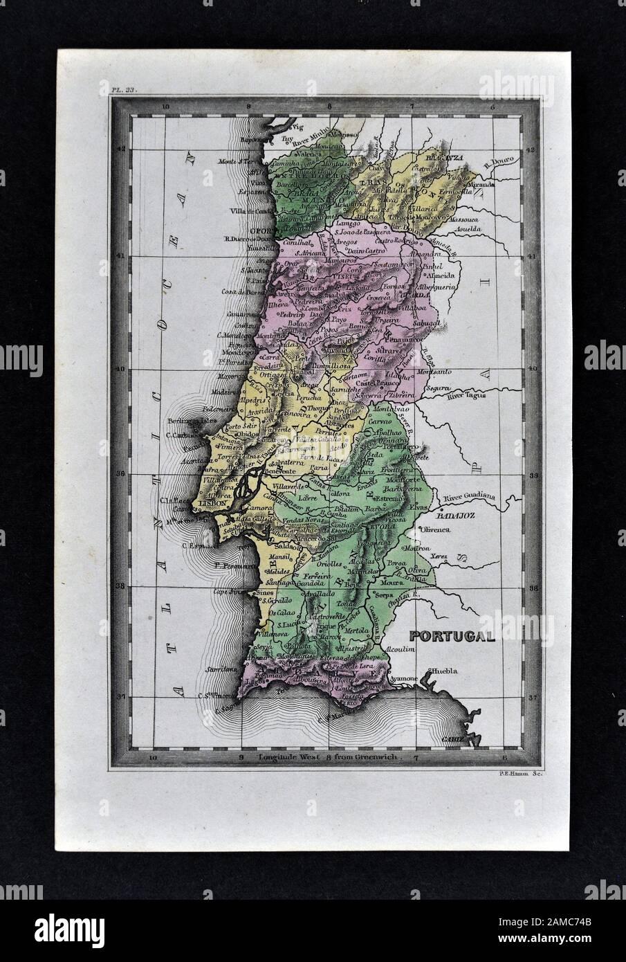 1834 Carey Mapa De Portugal Lisboa Porto Algarve Braga Foto