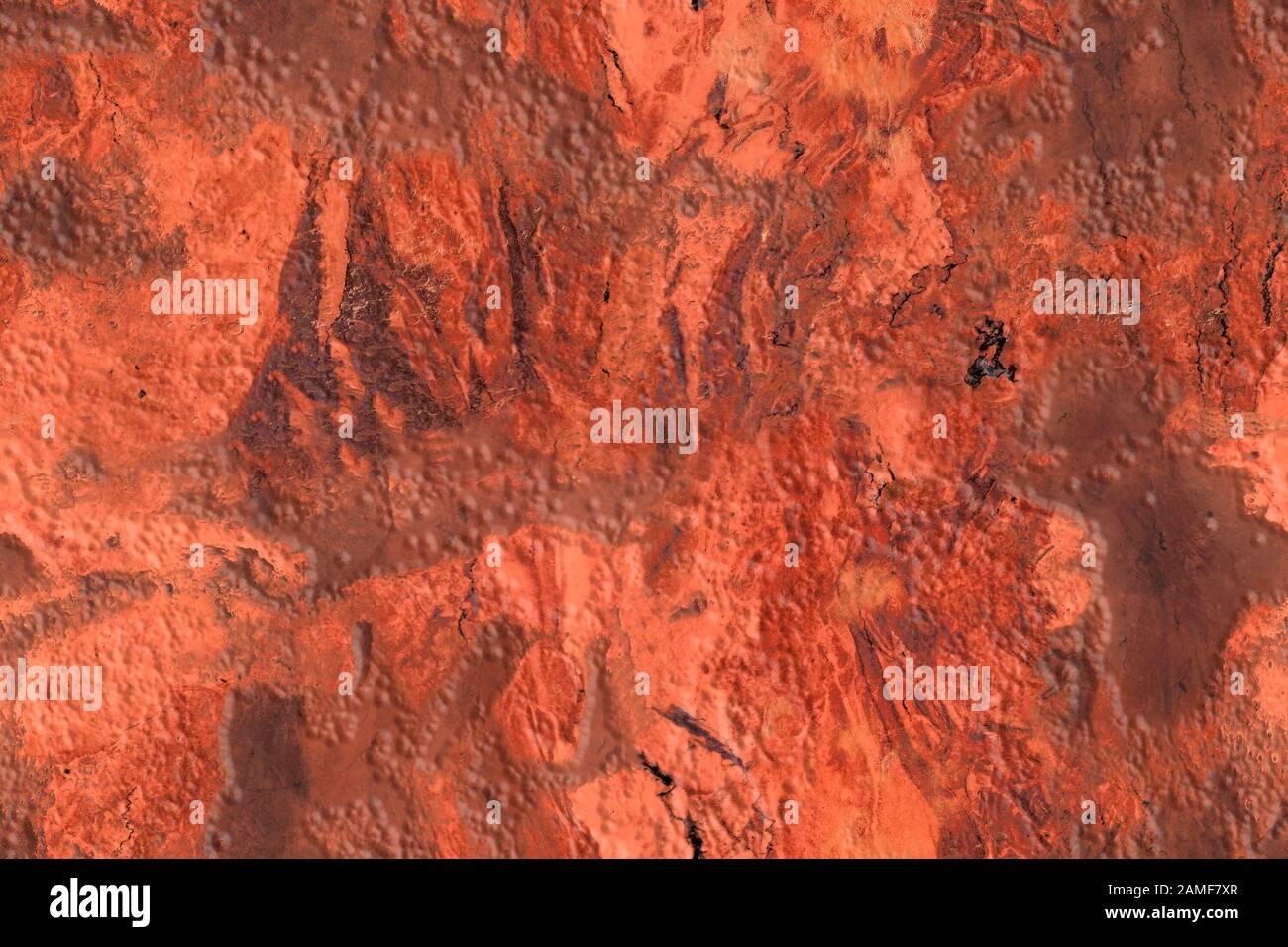Textura sin costuras de relieve brillante en tonos rojos y rosas con venas y arañazos, patrón sin costuras Foto de stock