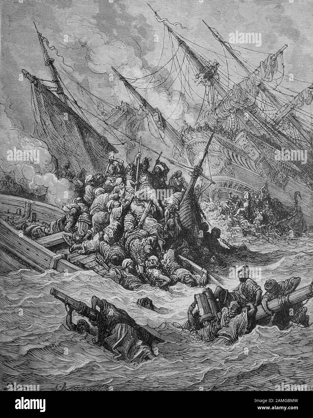 Las cruzadas fueron una serie de guerras religiosas en Asia occidental y Europa iniciadas, apoyadas y a veces dirigidas por la Iglesia Católica, la Batalla de Lepanto fue un compromiso naval que tuvo lugar el 7 de octubre de 1571 cuando una flota de la Santa Liga, Dirigido por la República veneciana y el Imperio Español, infligió una gran derrota a la flota del Imperio Otomano en el Golfo de Patras, Grecia, Seeschlacht von Lepanto fand am 7. Oktober 1571 im Ionischen Meer vor dem Eingang zum Golf von Patras bei Lepanto (griechisch Nafpaktos) im heutigen Griechenland statt, impresión original del siglo XIX Foto de stock