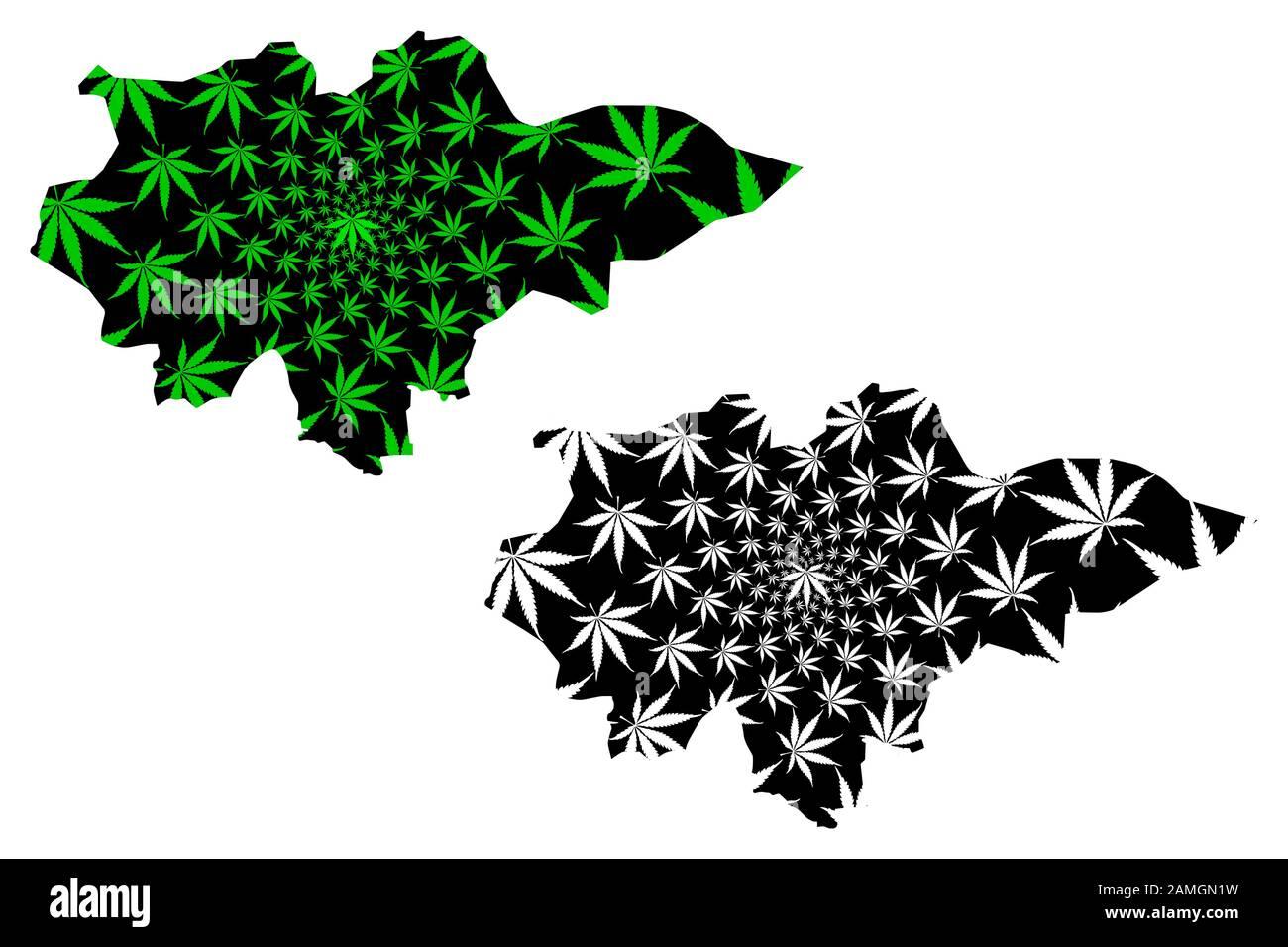 Región de Mopti (regiones de Mali, República de Mali) mapa está diseñado hoja de cannabis verde y negro, Mopti mapa hecho de marihuana (marihuana, THC) follaje Ilustración del Vector