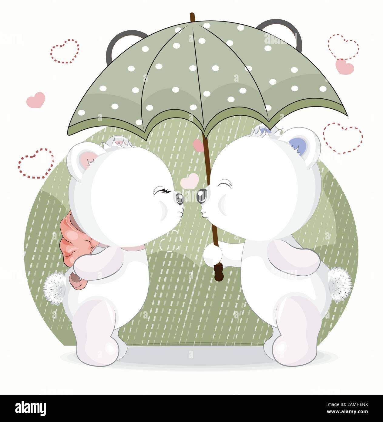 Beso En Amor White Girl And Boy Teddy Bear Bajo La Lluvia Cuadro