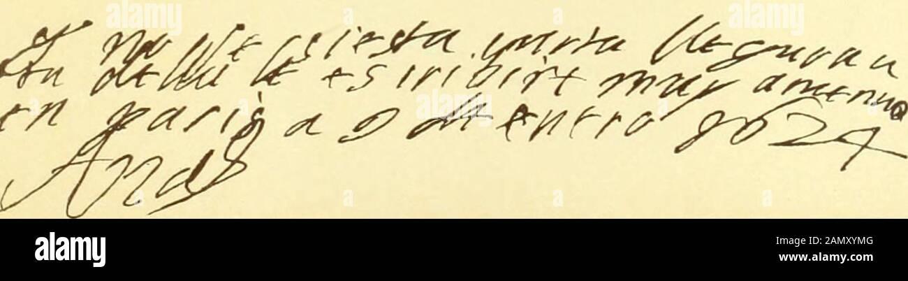 Serie de los más importantes documentos del archivo y biblioteca del hermoso dvqve de Medinaceli . (f). Autógrafos y firmas. (A) de Luis xi de Francia (1482).- (b) del Príncipe Enrique de Bearne (1542). —(ít) del Duque de Calabria (1507).—(¡/) de la Reina D. Ana, mujer de Luis xiii (1624). 2% (rf) »5 Laix CARTA ÜK DON TRISTÁN tu a cu ti a al Marc/ués de Prieí   o.. -f4Q (i ilustic y nuiy ina iititu Señor: Ouundo el Gran Capitán, mi Señor, partió de Sevilla desde Santillana, me man-do su Señoría que me viniese un rremorar algunos dias o un Granada o aqui, donde Suñoria sabia que estai Foto de stock