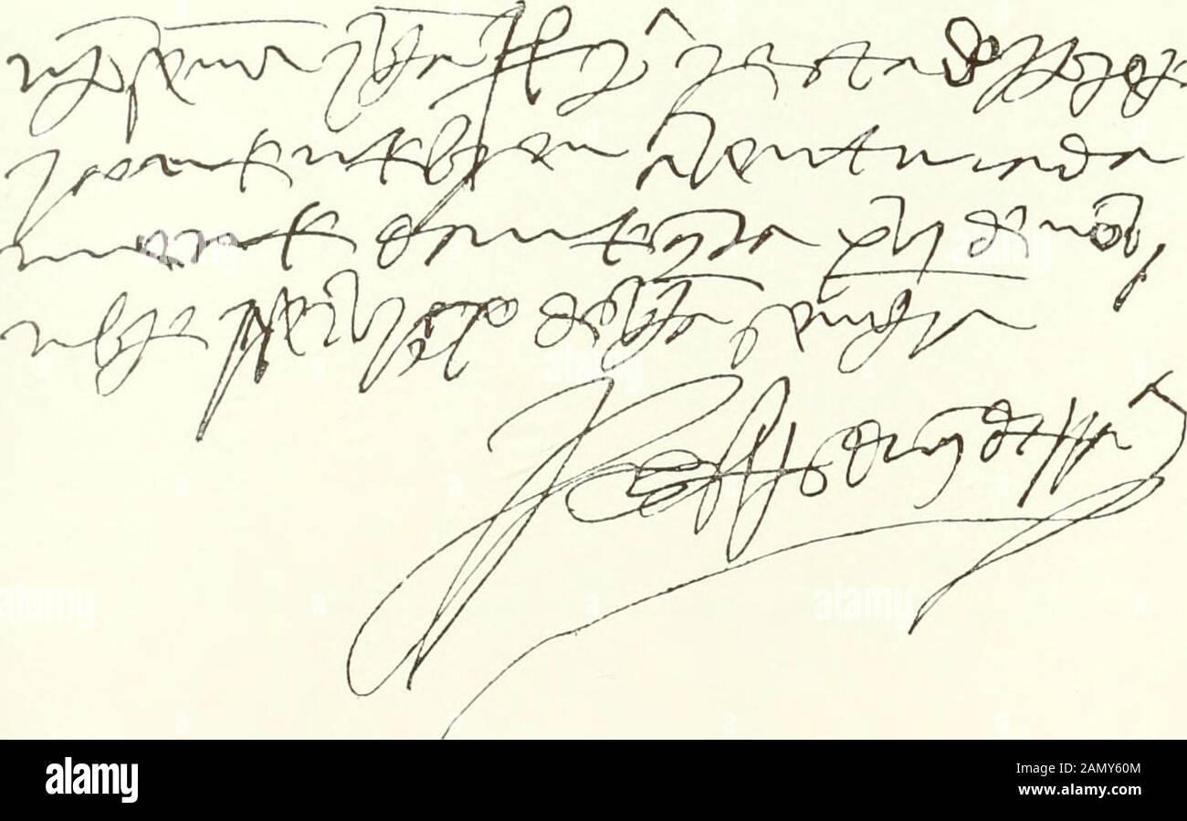 Serie de los más importantes documentos del archivo y biblioteca del hermoso dvqve de Medinaceli . 6). (A) firma de M..sl Diego de Xiileía |i46Si.-(¿) Kimia y Jesús de O. Belliáii de la i iiea, Duque de Alhiirqiierqiie i I4I.(m.—¡Vi Autógrafo y firma del Gran Capiliii len la lirma (/. /-rr.- Diiq. De Jcrr: Gonzalo Fernández [)ik|ue de Tcrranova). Í.S. ií. — 73 — mada e sellada de algunos grandes destino reino, cerca del diurcio e apartamientoque el dicho Conde, mi Señor, procuró entre si e la Señora Doña Catalina Lasa; epor quanto algunos del Consejo del dicho Señor Rey dixieron Foto de stock