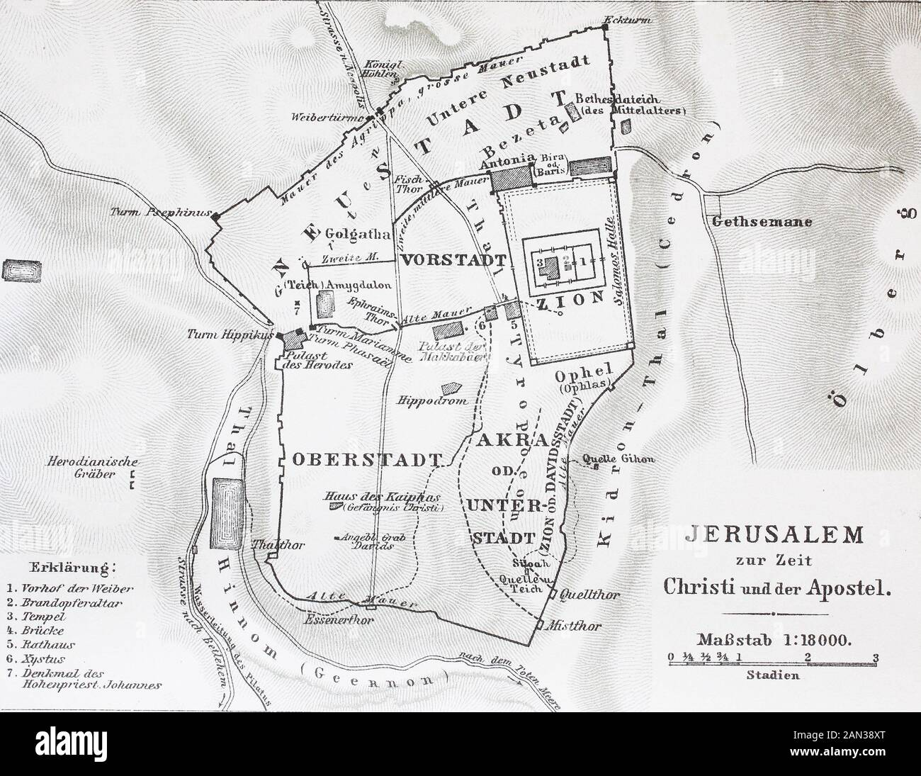 Mapa De Jerusalén En El Tiempo De Jesucristo Karte Von Jerusalem Zur Zeit Jesús Christus Historisch