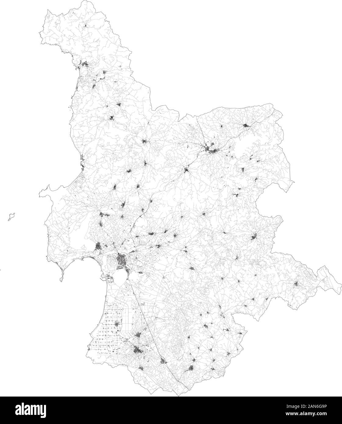 Mapa satelital de la provincia de Oristano ciudades y carreteras, edificios y carreteras de los alrededores. Región de Cerdeña, Italia. Cerdeña Ilustración del Vector