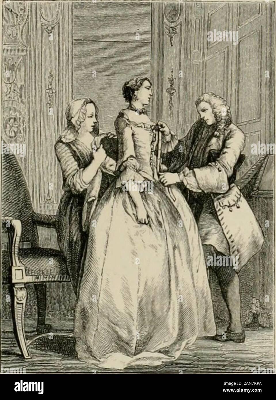 El siglo XVIII; sus instituciones, costumbres y vestimentas de Francia, 1700-1789 . a la Henri IV. Para hombres no anduvo anybetter, aunque los líderes de la moda, a petición de la ComtedArtois y María Antonieta, procuraron introducir, como aCourt-vestido, en el privado entretenimientos dada por los príncipes ofblood. El conde de Segur, que tomaron parte en ellos, dice : Thiscostume fue lo suficientemente bien como para los hombres, pero no a todos los hombres de edad suitmiddle, especialmente si eran cortos y inclinados a corpu-lence. Los mantos de seda, las plumas, cintas y colores brillantes,les hizo mirar ridic Foto de stock