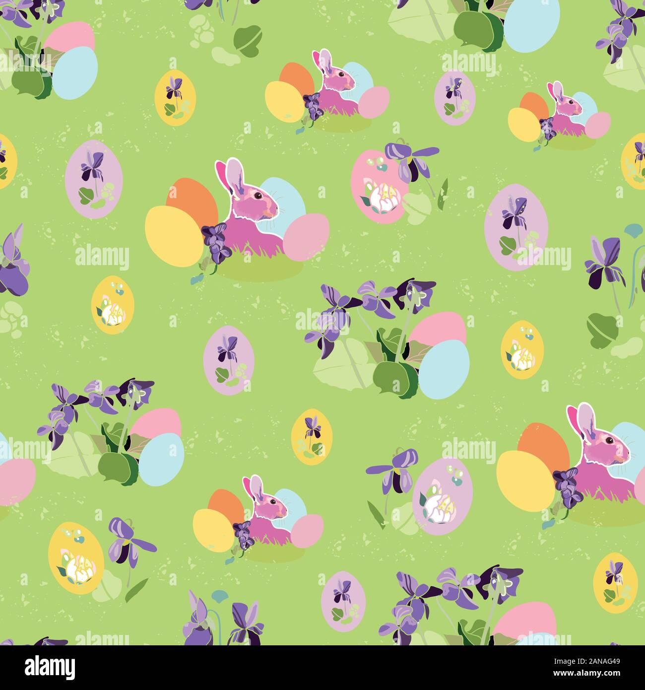La botánica realista Vector patrón de repetición con el Conejo de pascua, Pascua nido. Hermoso diseño colorido para tu evento familiar. Antecedentes de la naturaleza. Imprimir, tela, inmóvil. Ilustración del Vector
