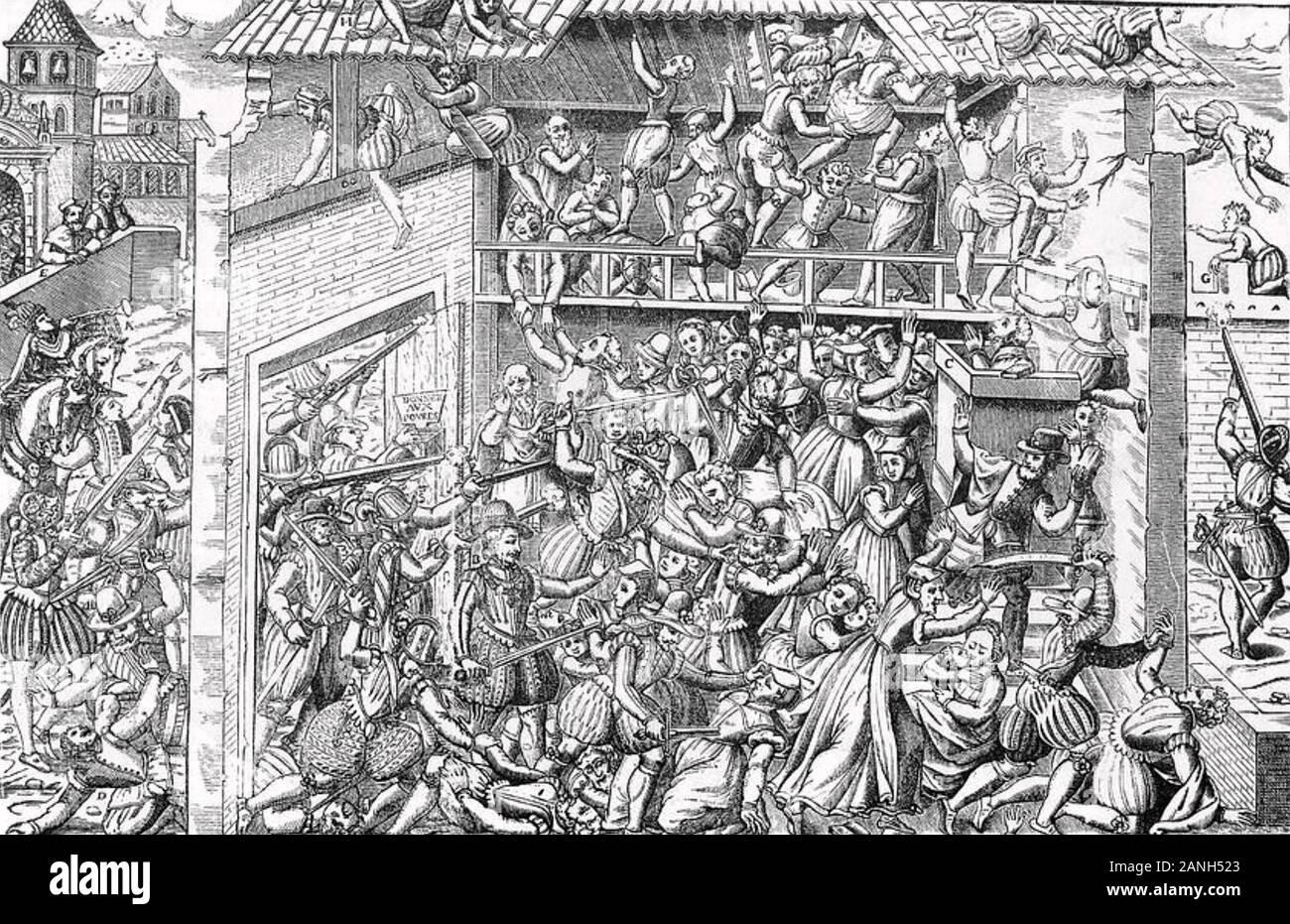 Masacre de los hugonotes 1572 Foto de stock