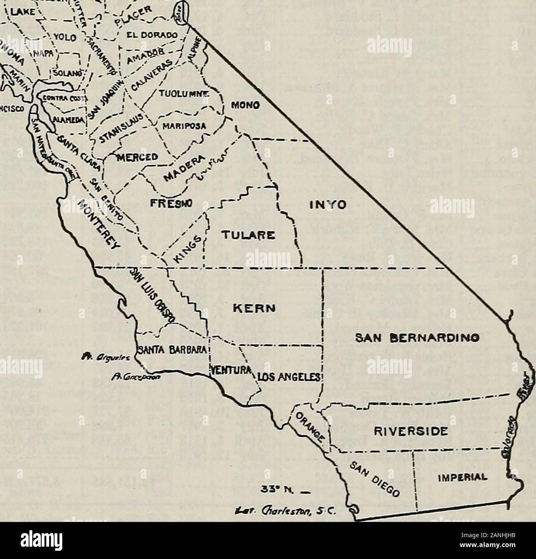 """Noticias Notas de bibliotecas de California . ?P-lY ^5 SISKIYOU I MODOC LASSEN . TEHAMA ,N , . / PLUMAS ^, S V r ^ ^ 3 XCLENNI BUTTE^^/- ! *•) ^i Sierra Lago ,i_x,--^lo** V ."""" V.-.- YOl n !-A - EL £,r. ^tctimlt^- SMFUMCISCO tb. 33 N. _ *""""• Olar/tsnn, SC. (151) 152 NOTICIAS NOTAS DE CALIFORNIA BIBLIOTECAS [Octubre, 1945 COUNTY FREE LIBRARIESStatistics el 1 de julio de 1945, Condado de ingresos establecido bibliotecario*1944-45 volúmenes ramas circulación andstations Alameda Amador Butte Calaveras Colusa Contra Costa. Fresno Glenn Humboldt Inyo Imperial Kern Reyes Lassen Los Angeles Madera Marin Mariposa Merced Modoc Mo Foto de stock"""