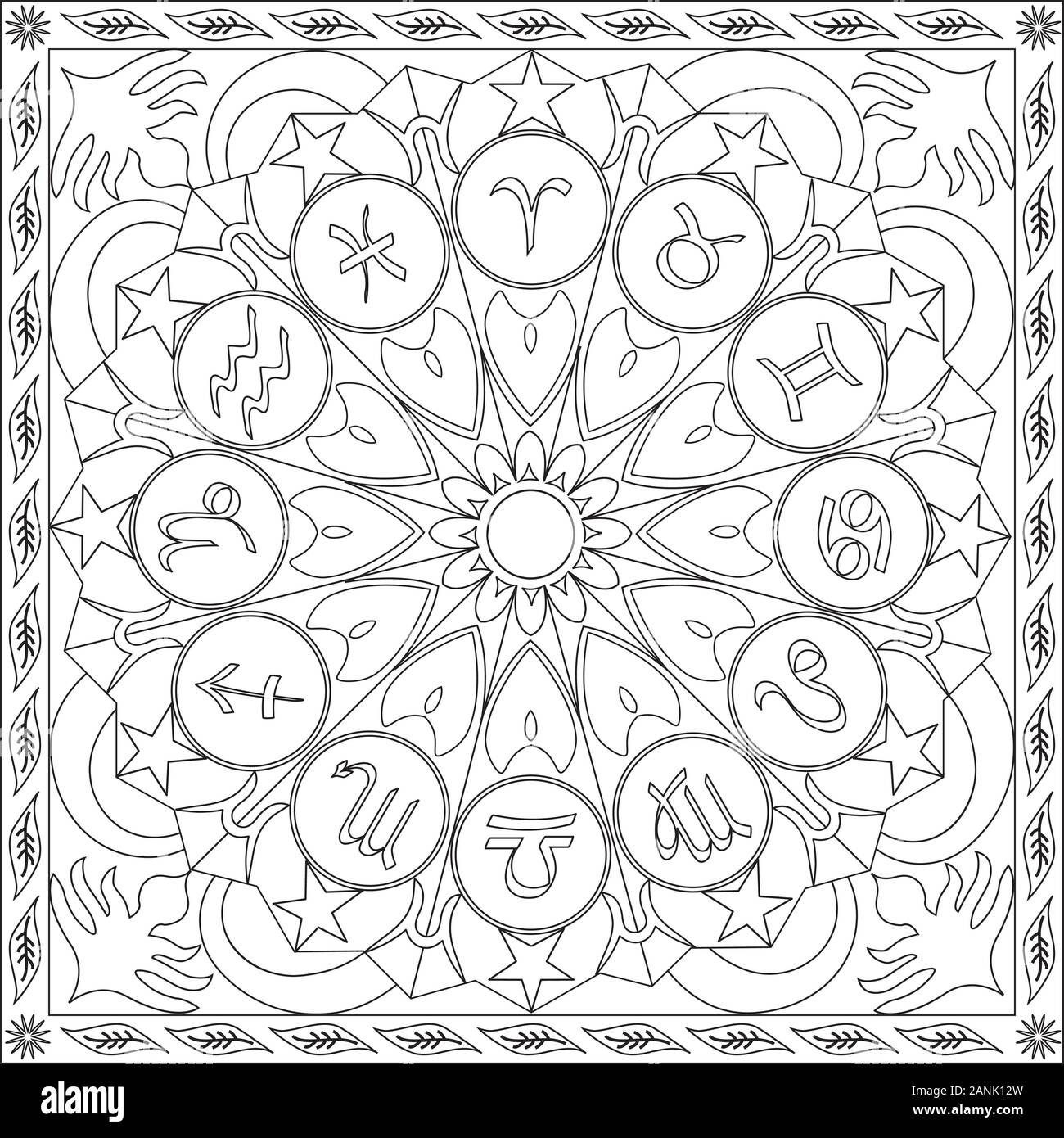 Página Para Colorear La Ilustración En Formato Cuadrado Iconos De Los Signos Del Zodíaco Mandala Rueda Astrología De Stress Y Relajarse Blanco Y Negro Imagen Vector De Stock Alamy