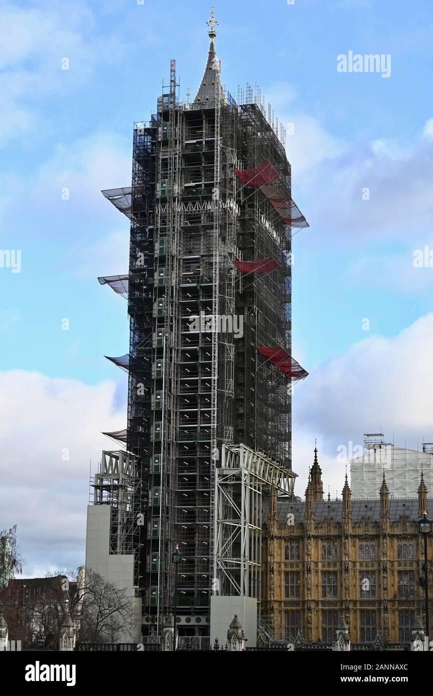 Big Ben para Brexit Bong. Boris Johnson dejó de hacer Big Ben Bong para Brexit culpar al Parlamento para bloquear su oferta para celebrar la salida del Reino Unido de la UE. El Big Ben, las Casas del Parlamento, en Westminster, Londres. UK Foto de stock