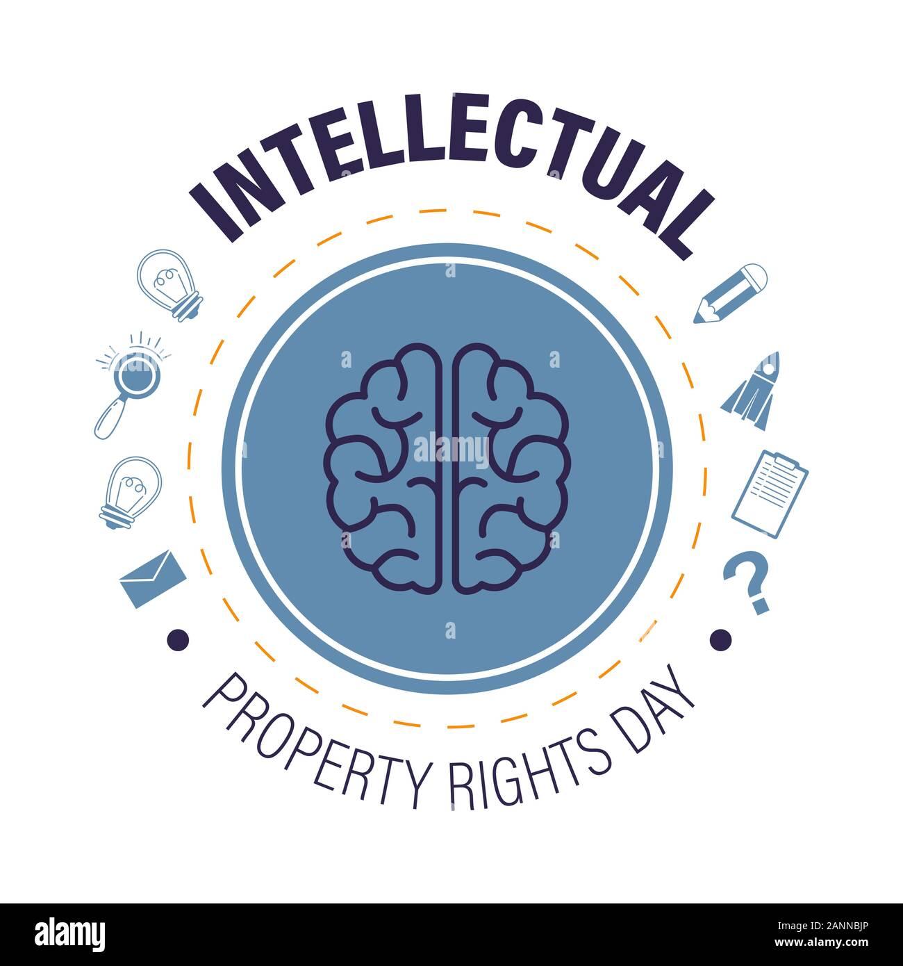 Los derechos de propiedad intelectual día aislado icono, copyright y protección de invenciones Ilustración del Vector