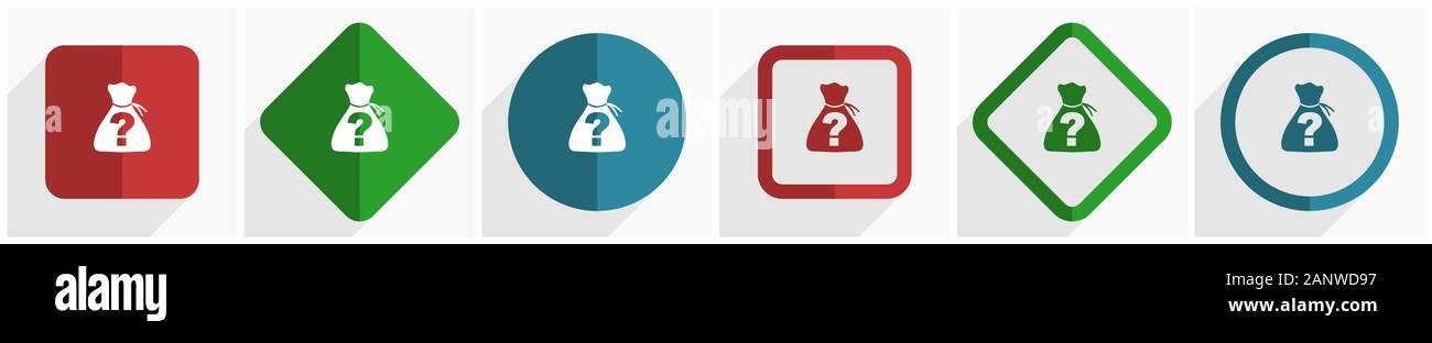 Riddle conjunto de iconos, diseño plano ilustración vectorial en 6 opciones para el diseño web y aplicaciones móviles en 10 EPS Ilustración del Vector
