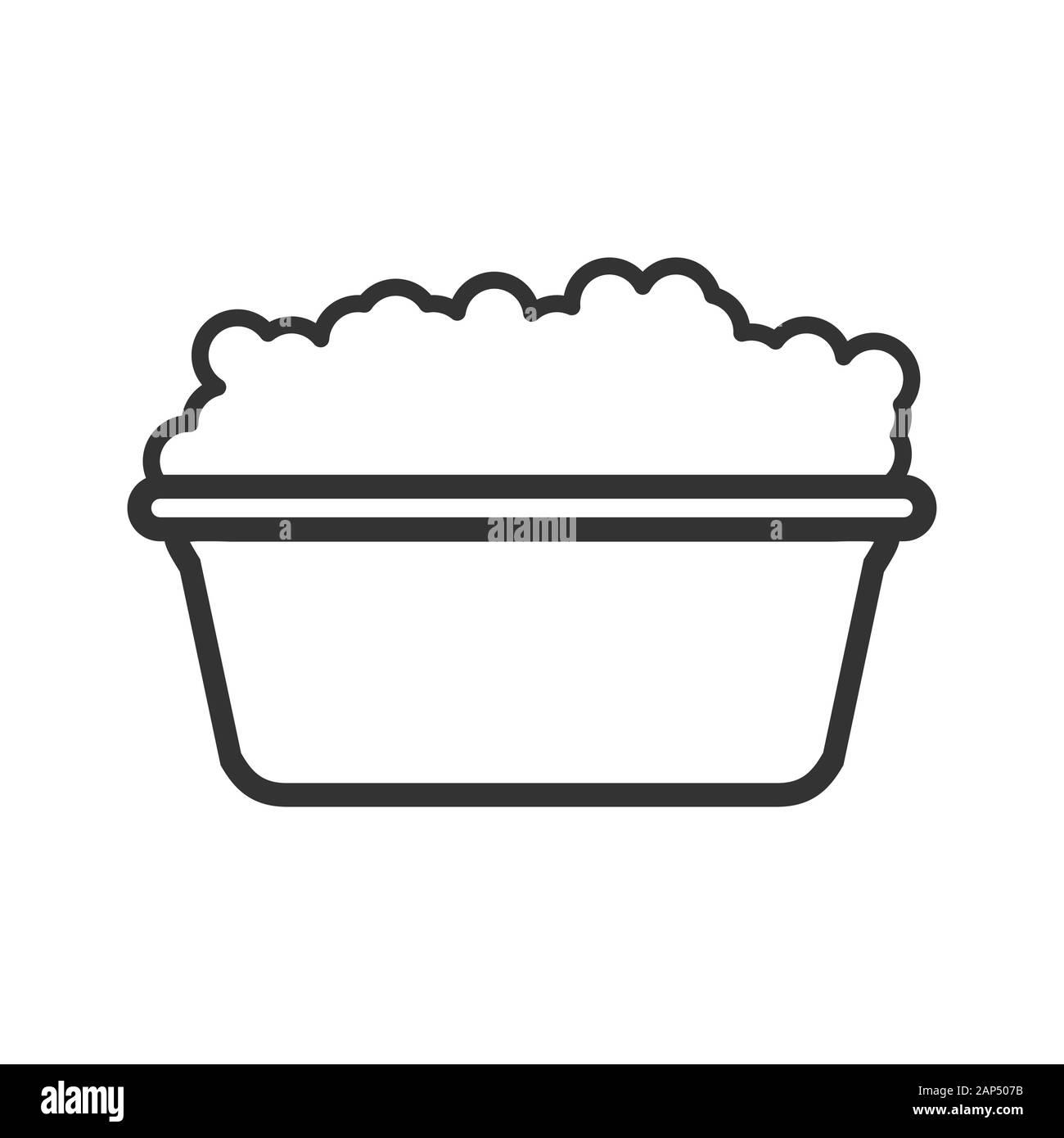 Icono de vector de una palangana con agua y jabón y espuma. Un esquema de vacío está aislado en un fondo blanco. Estilo plano Ilustración del Vector