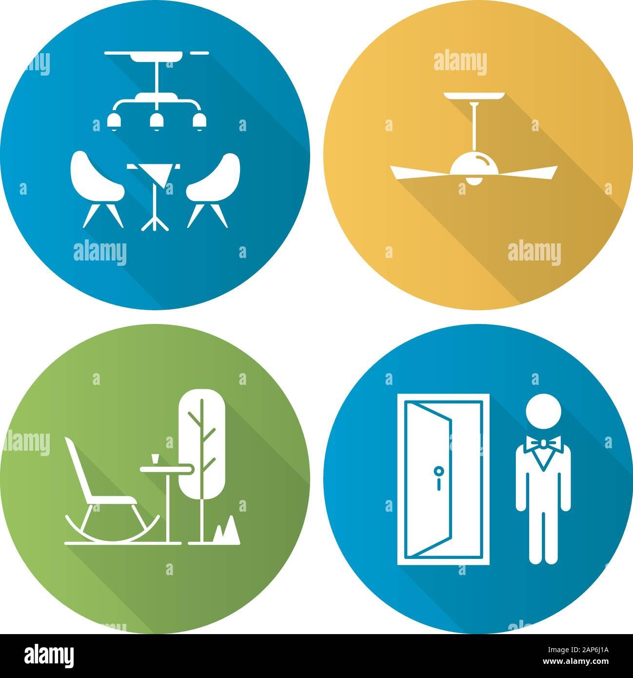 Apartamento comodidades diseño plano larga sombra glifo conjunto de iconos. Portero, lobby bar, piscina resto mobiliario, ventilador de techo. Cómodos servicios. V Ilustración del Vector