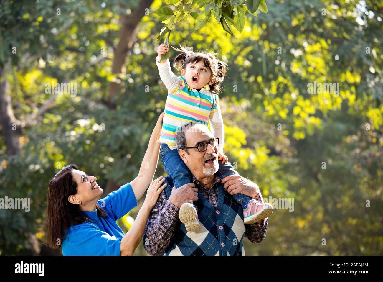 Abuela con nieta sentada en el hombro del abuelo en el parque Foto de stock