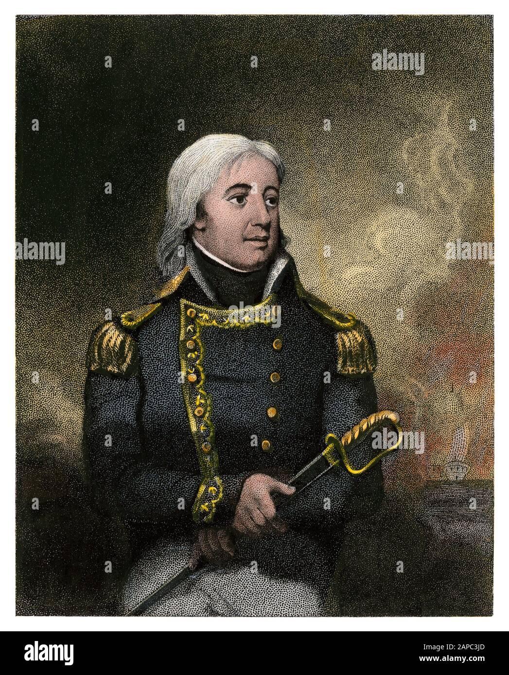 Joshua Barney, oficial naval de la Revolución Americana. Grabado de acero de color manual Foto de stock