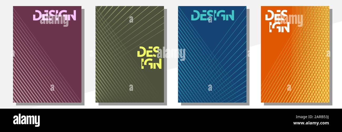Plantillas de diseño de cubiertas geométricas formato A-4. Conjunto editable de diseños para portadas de libros, revistas, cuadernos, álbumes y folletos. Diseño plano, moderno Ilustración del Vector