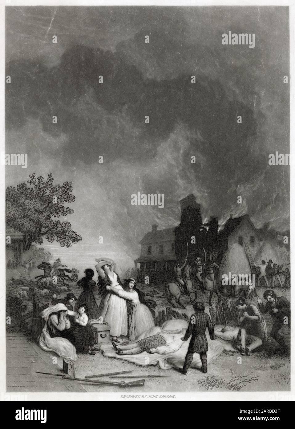 Andrew Jackson como niño en la Masacre de Waxhaw cerca de Lancaster, Carolina del Sur Fecha: 1780 Foto de stock