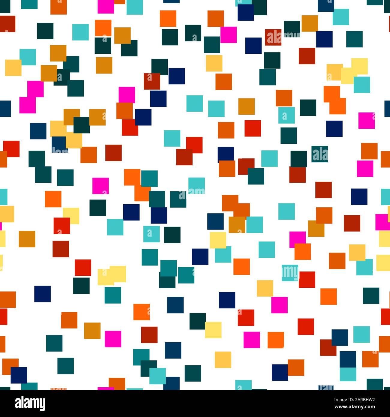 Patrón de materiales geométricos vectoriales sin costuras de cuadrados de colores para textiles, embalaje, impresión de papel, fondos y texturas simples. Ilustración del Vector