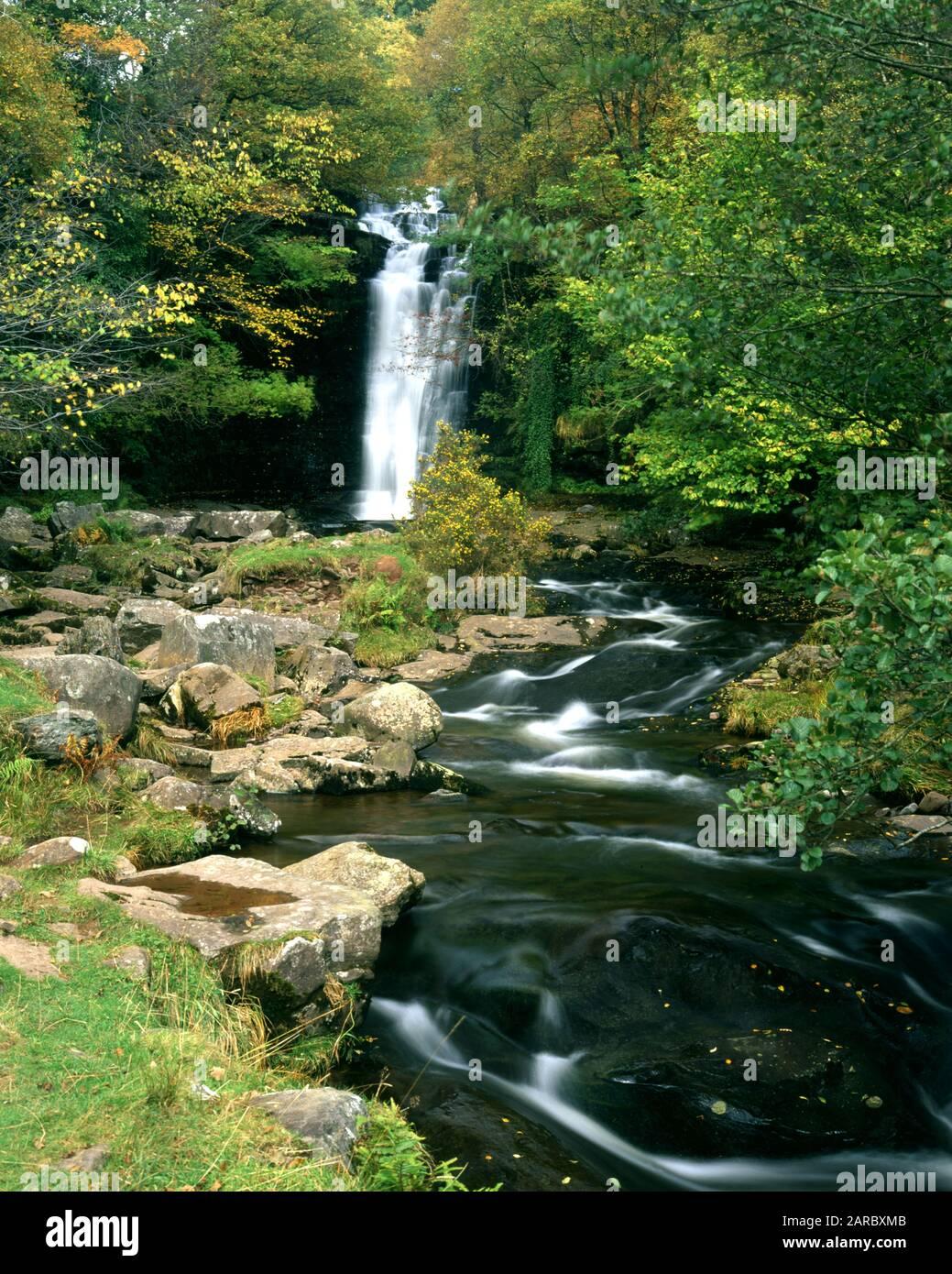 Cascada En El Río Caerfanell, Blaen Y Glyn, Parque Nacional Brecon Beacons, Powys, Gales. Foto de stock