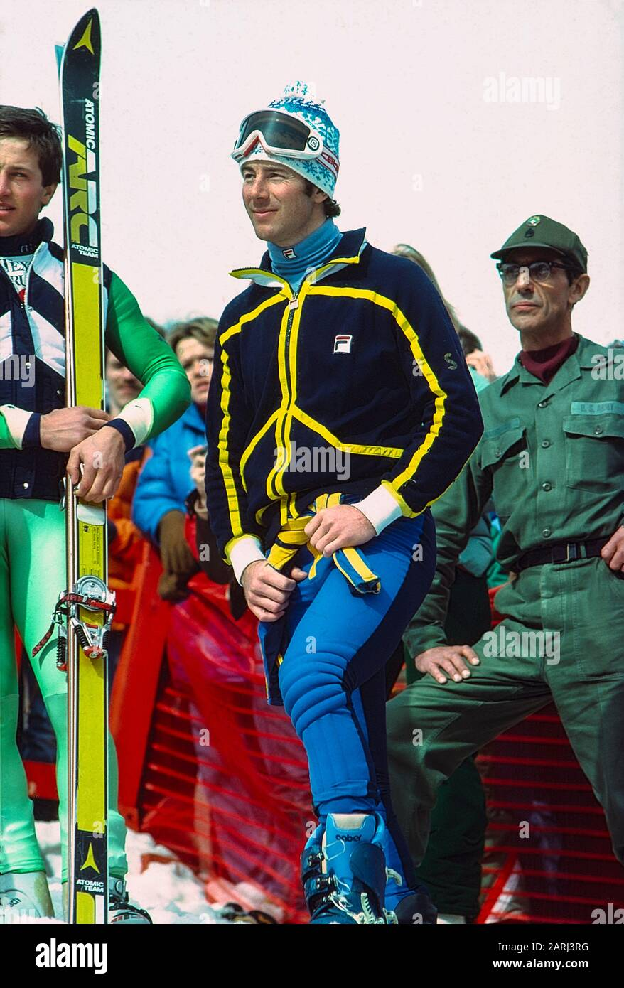 Ingmar Stenmark, de Suecia, ganador de la medalla de oro en el slalom gigante en la Copa del Mundo de 1979, Lake Placid, NY Foto de stock