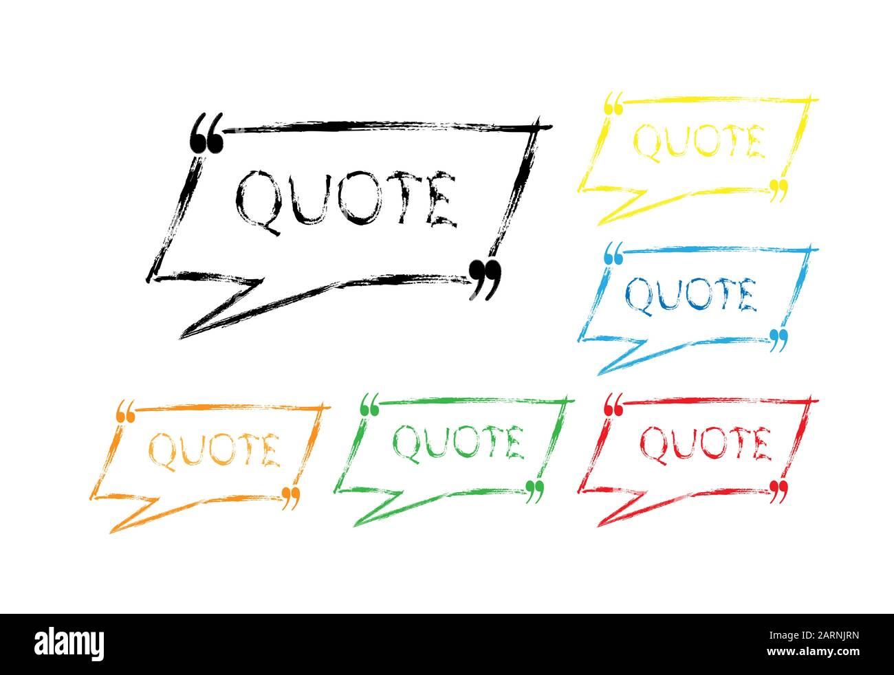 Juego editable de pincel coloreado: Marcos dibujados para comillas o texto para chats, diálogos y mensajes. Aislado sobre fondo blanco. Diseño sencillo. Ilustración del Vector