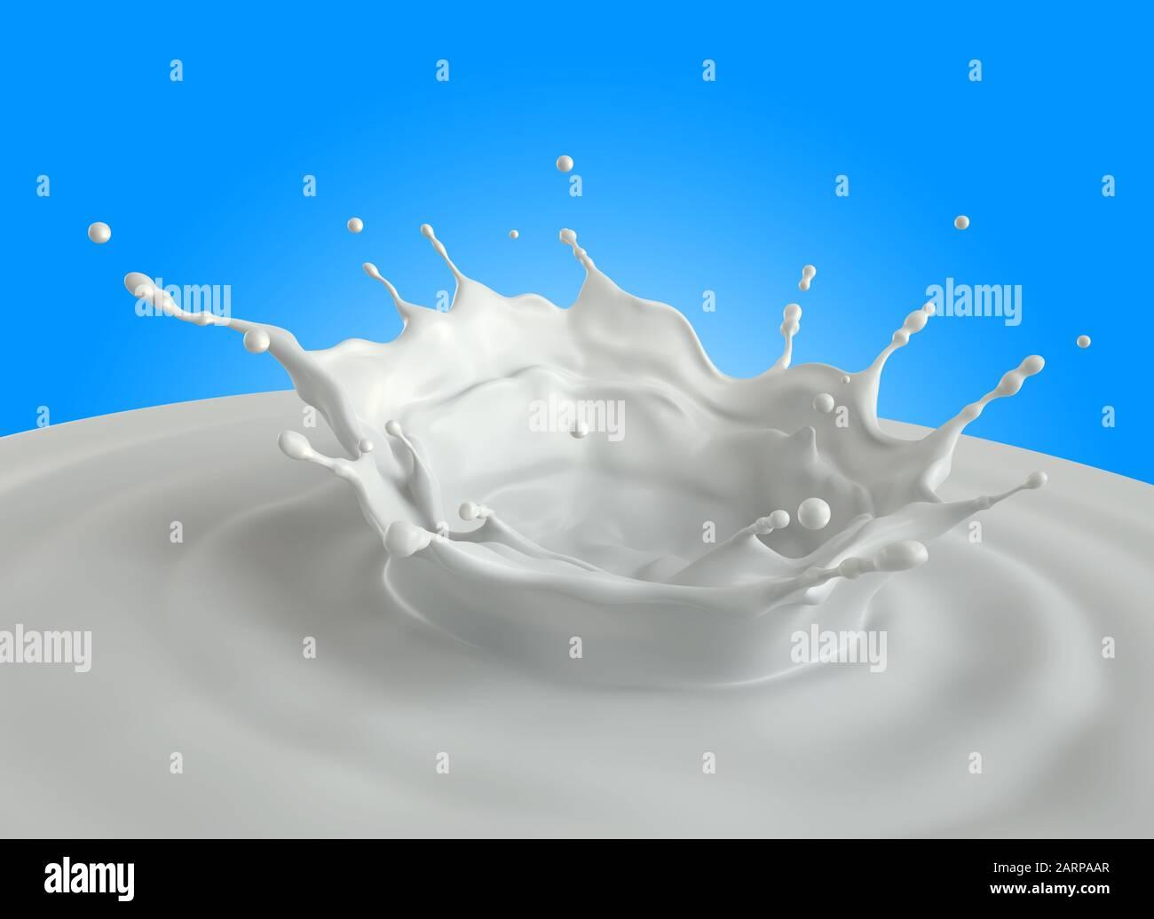 Salpicadura de leche. Trazado de recorte incluido. Ilustración 3D Foto de stock