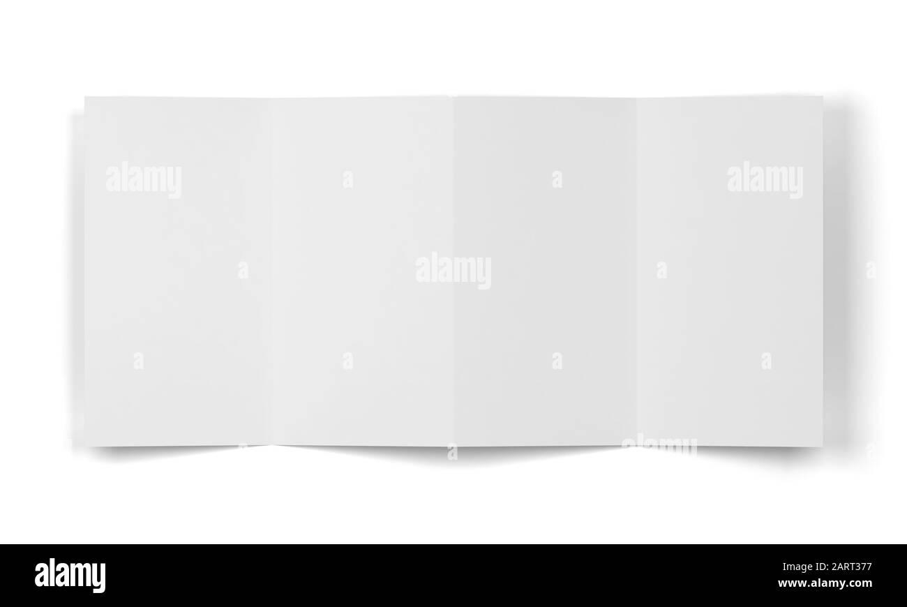 folleto de 4 pliegues se burla. ilustración 3d aislada sobre fondo blanco Foto de stock