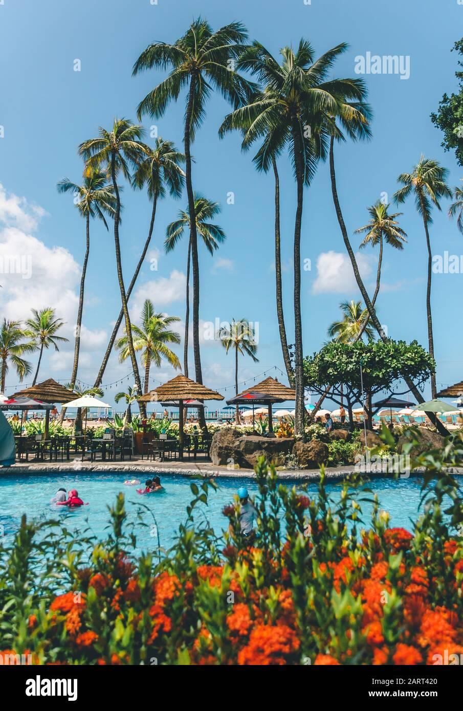 Hawaii playa resort piscina Foto de stock