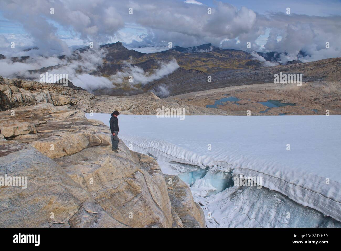 Sobre El Glaciar Ritacuba, El Parque Nacional El Cocuy, Boyacá, Colombia Foto de stock