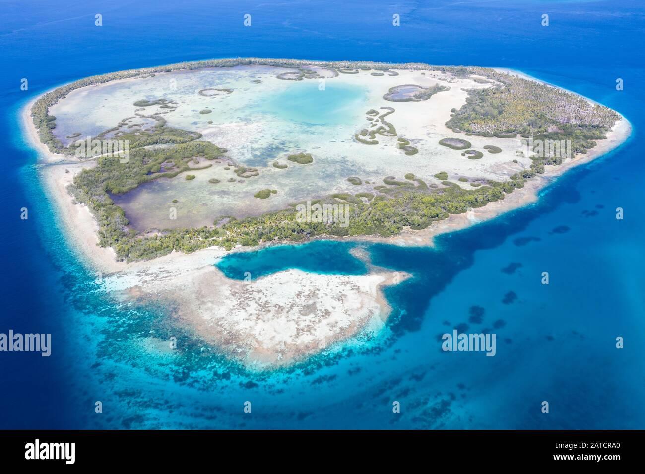 Una remota isla tropical en el Mar de Molucca está rodeada por un bosque de manglares que rodea una laguna poco profunda. Esta isla se encuentra en medio del Triángulo del Coral. Foto de stock
