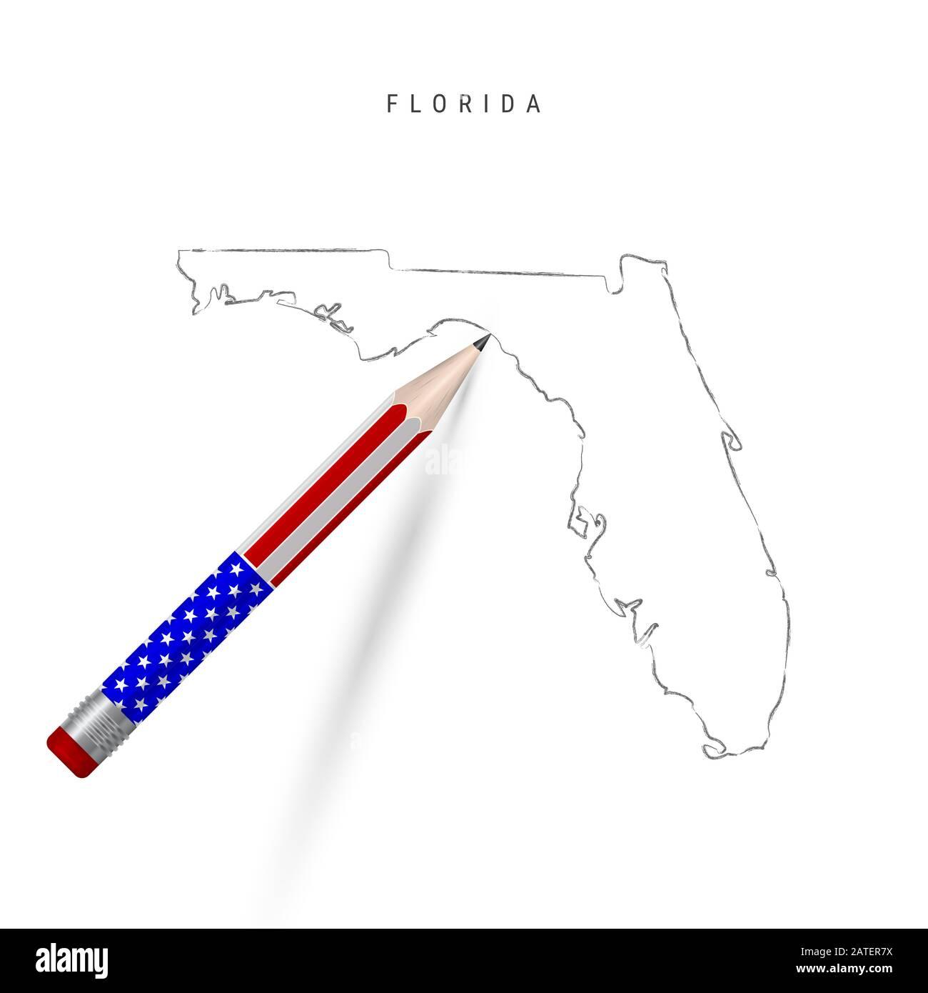Dibujo De Lápiz De Mapa De Estado De Estados Unidos De Florida Florida Contorno Mapa De