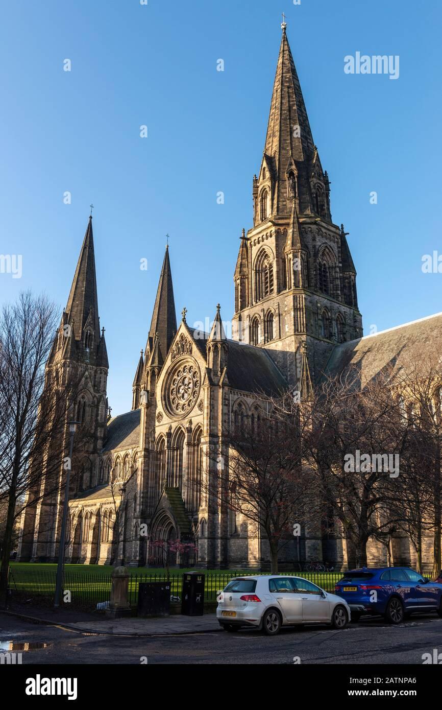 Catedral de Santa María (Episcopal) en El Extremo occidental de Edimburgo, Escocia, Reino Unido Foto de stock
