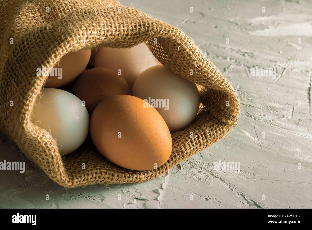 Sin tela de plástico, cierre los huevos libres de plástico, marrón y blanco en la bolsa ecológica, copie los alimentos del espacio Foto de stock