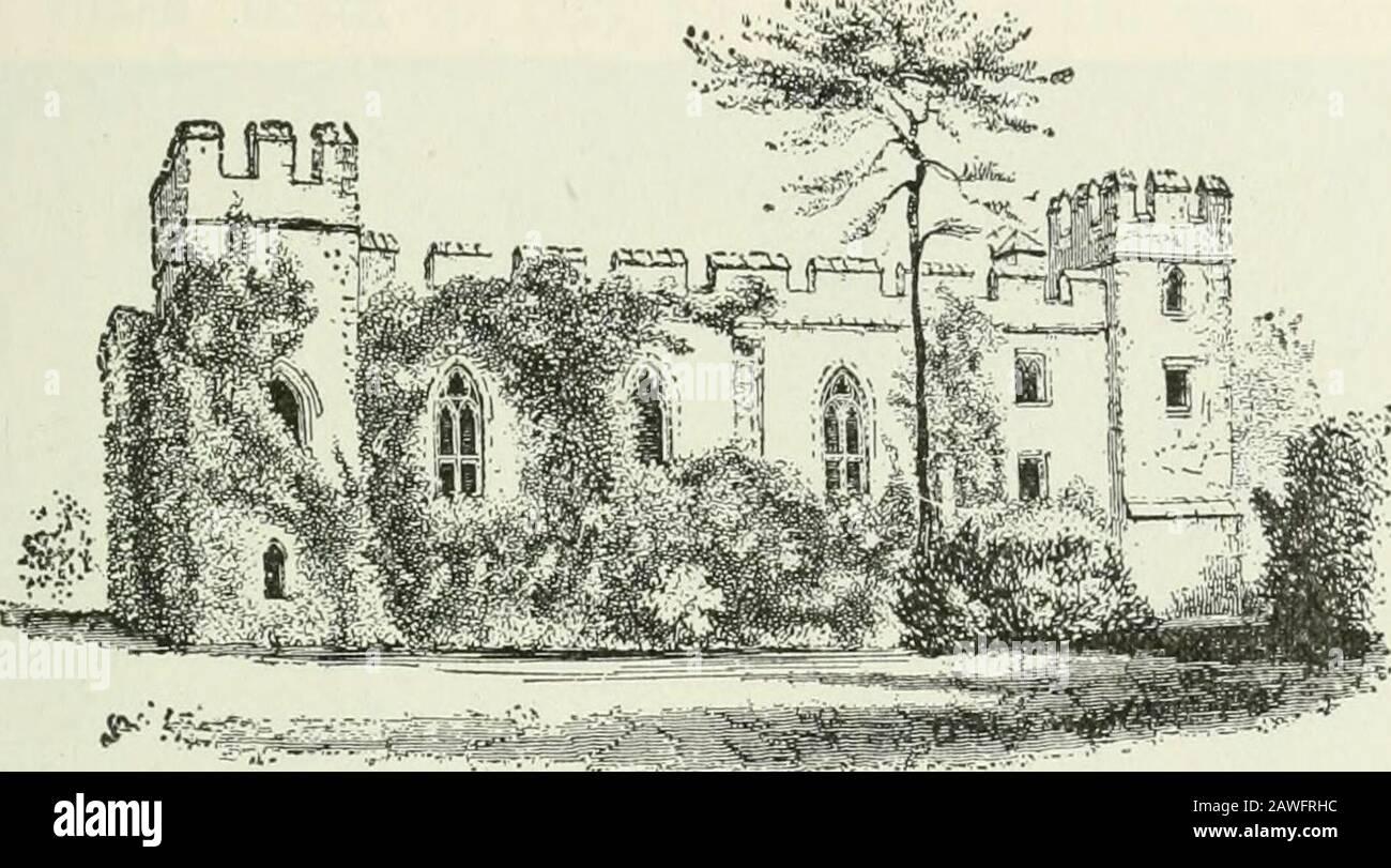 Ontario High School History of England . eran muy costosos de construir y mantener. Eran en efecto fortalezas, con guarnición aconsiderable, y la mayoría de ellas pasaron a las manos del rey, o a las de unos pocos nobles que tenían hiscencias. Las guerras de las Rosas, que tendieron a reavivar el poder de los nobles, llevaron a algunos de ellos a fortificar teirresidencias. La artillería, sin embargo, estaba haciendo el castillo de poco uso en la guerra, y, al cierre de la Edad Media, los nobles tericher vivían en suntuosos palacios, construidos sin pensar en la defensa militar. La casa solariega.—el escuadre del pueblo, o señor del m Foto de stock
