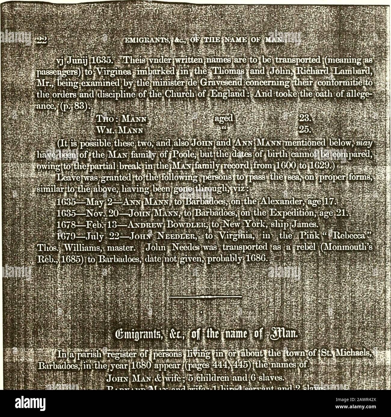 Registro de las familias Man, Needles (Nedels) y Hambleton...1495-1876 . 1.1/, En J.-Ail C 1.1 .III HllV/ij =-*. ¿Ji yp~ga? :TIIK IMST* FAMIEY|in |NEW|ENGLU>jJohni|Manu/|Genk to 1082 i,jof|3aTnaic  ?le namcpvmby| : He| isfmeritiohed j como .oijieiifof jthe| encuesta ois de Eehobotli 383 Jiine 9, 1( .1M..aiidas teniendo Foto de stock