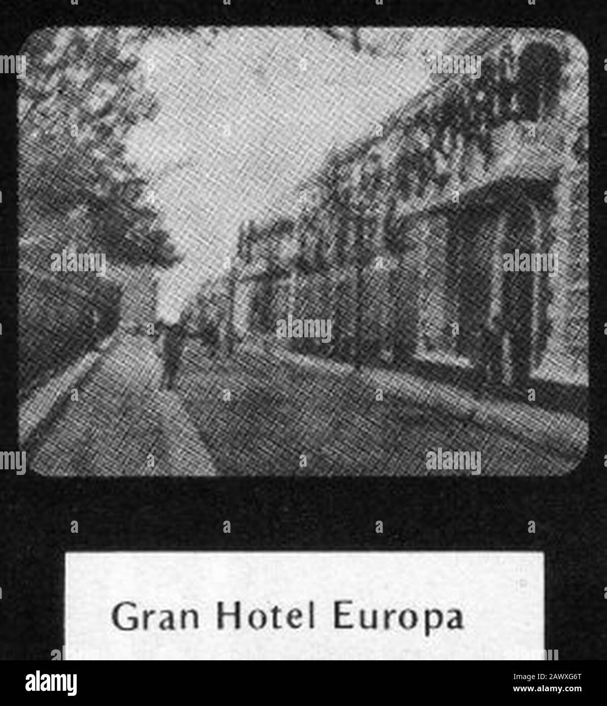 Marco de 'Un célebre especial sacando muelas en el gran Hotel Europa'. Foto de stock