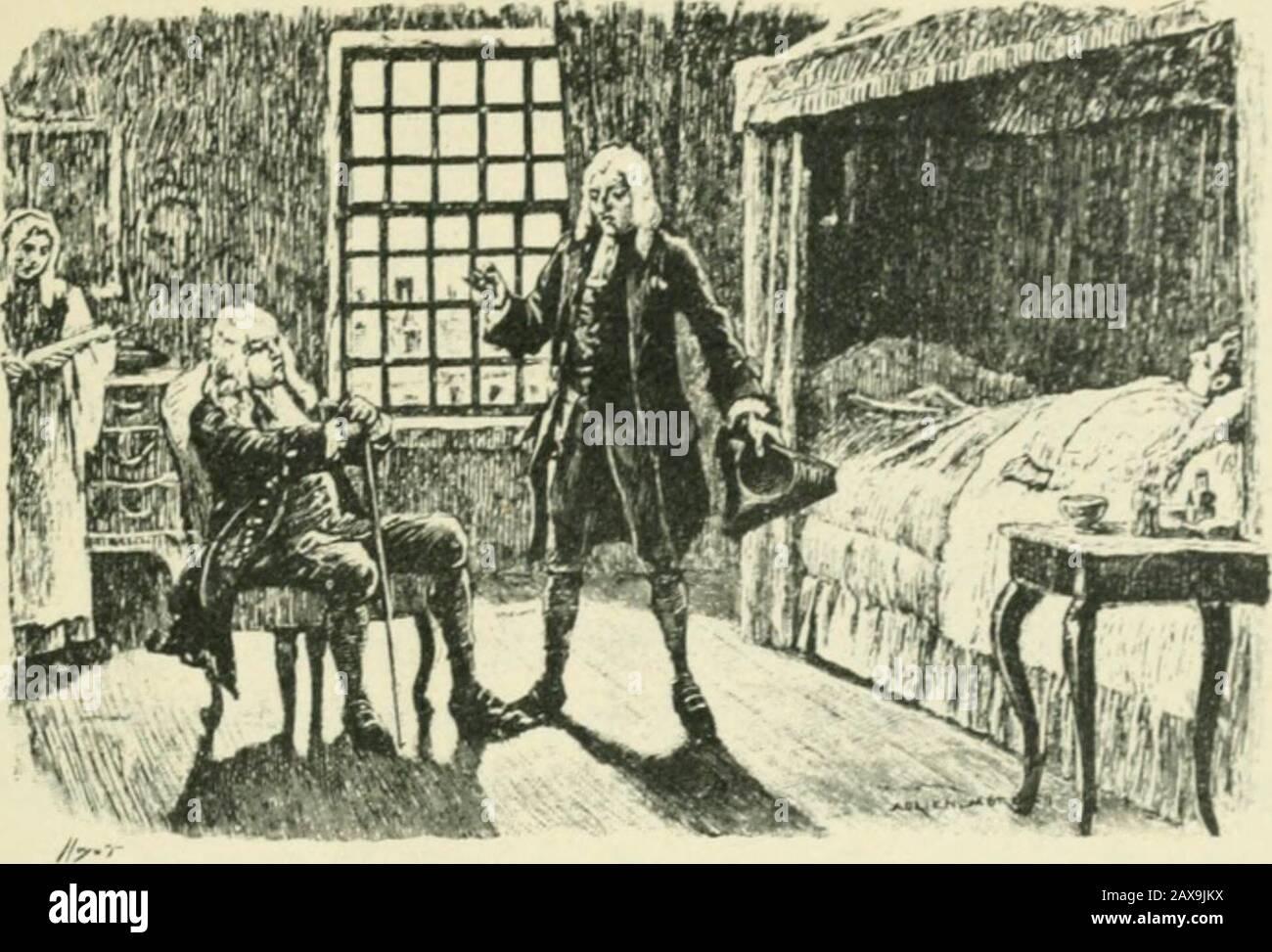 Candide; ou, L'optimisme; . iiiiiiiiiiiiiiiiiii. XXII Ce qui arriva en France à Candide et à Martin. Candide no sarrêta dans Bordeaux quautant de tempsquil en fallait pour vendre quelques cailloux du Dorade,et pour saccommodder dune bonne chaise à deux places,car il ne pouvait plus se passer de son philosophe mar-tin; Il fut seulement très fâché de se séparer de sonmouton, quil laissa à lAcadémie des Sciences de Bor-deaux, laquelle proposia  )our le sujet du j)rix de cetteannée de trouver pourquoi la laine de ce mouton étaitroufir, et un plus savant, un plus un quér et un Foto de stock