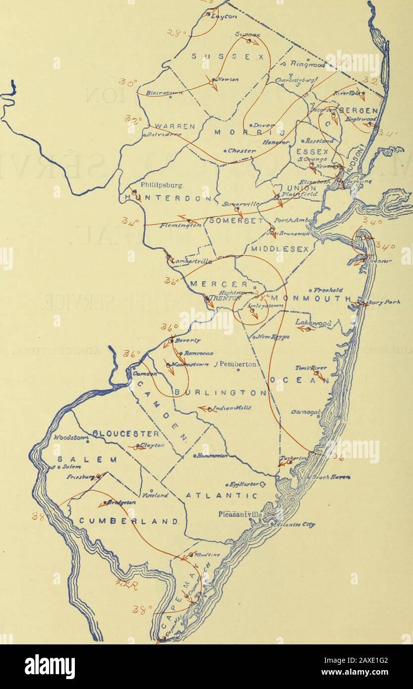 Datos climatológicos, Nueva Jersey. i ATLANTIC CITY, N. J. WEATHER BUREAU OFFICE. 21 De Abril De 1906. ISOTERMAS MEDIAS MENSUALES Y DIRECCIÓN PREDOMINANTE DEL VIENTO, MARZO, 190G. ) M.viun, moti. CUMAIOI KKKI-OHT: SECCIÓN NKW .LEIISEY. 19 DEPARTAMENTO DE AGRICULTURA DE LOS ESTADOS UNIDOS, SERVICIO CLIMATOLÓGICO DE LA OFICINA DEL CLIMA. OFICINA CENTRAL: WASHINGTON, D. C. SECCIÓN DE NUEVA JERSEY, LEVI A. JUDKINS, DIRECTOR DE SECCIÓN. OL. XIX Uiiy Atlántico. N. J , marzo de 1906. No 3. RESUMEN GENERAL. Los rasgos prominentes de marzo de 1906 fueron la baja meantnperatura, la falta de sol, y la frecuente y pesada precición, junto con un Foto de stock