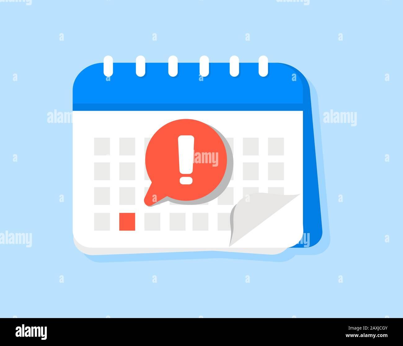 Icono de vector de calendario de fecha límite. Aviso o aviso de aviso de  evento de signo plano con evento importante seleccionado. Notificación de  mensaje de alerta activada Imagen Vector de stock -